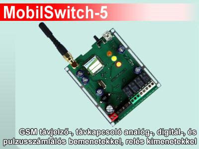 MobilSwitch-5 - GSM kapcsoló panel analóg és digit bemenetekkel, relékkel