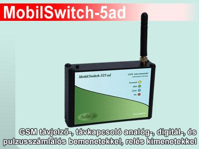 MobilSwitch-5ad - GSM kapcsoló analóg és digit bemenettel, relékkel, Li-po akkuval