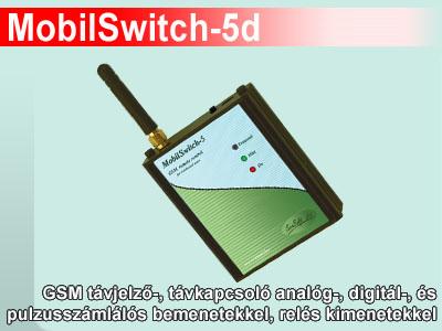 MobilSwitch-5d - GSM kapcsoló modul analóg és digit bemenetekkel, relékkel